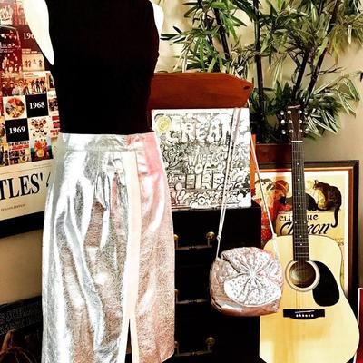 Leather skirts and metallics