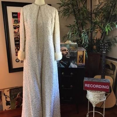 AMAZING 1960's rhinestone encrusted floor length Jackie-O gown with matching floor length coat
