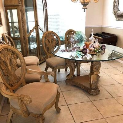 54-Inch Round Pedestal Glass-top Dining Table w/5 Chairs - $550