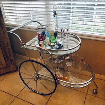 Contemporary Chrome & Glass Bar Cart - $145