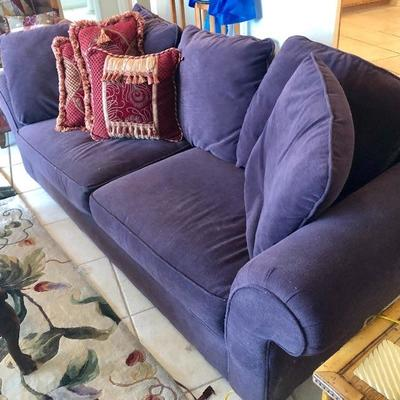 Bauhaus Plum 2-Cushion Sofa w/loose Pillow Back - $150  (85W  37D  31H at back)
