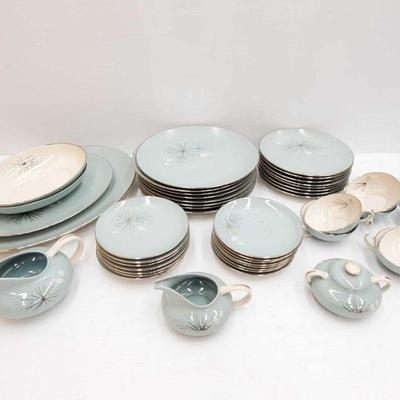 1290: 48 Piece Silver Pine China Set by Franciscan 8 tea cups and saucers, 8 dinner plates, 8 salad plates, 8 bread and butter plates,...
