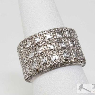 104: 18k 18k Gold Full Eternity Diamond Band, 14.5g Weights approx 14.5g, approx size 7.5 Diamonds are Princess cut and Round Cut...