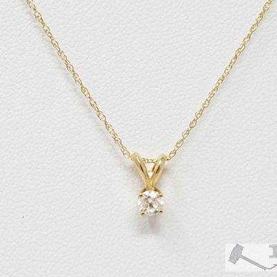 240: 14k Diamond Necklace, 1.1g Weighs approx 1.1g, Measures approx 18