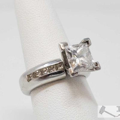 107: ..950 Platinum 2ct Princess Cut Diamond Channel Set Ring, 18.5g Weighs approx 18.5g , approx size 6.5 Retail value 22,000 Matching...