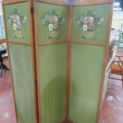 3 panel painted room divider