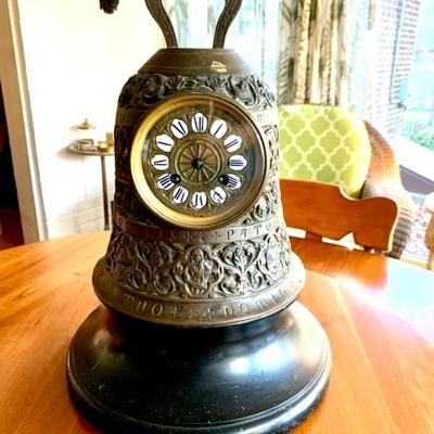 18th Century French Bronze Bell Clock