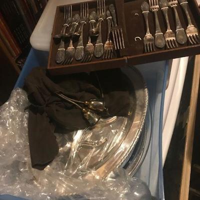 Silver flatware & pieces