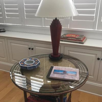 Bamboo glass top table