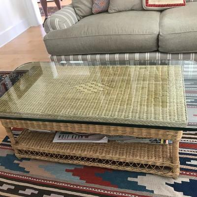 Wicker glasstop coffee table