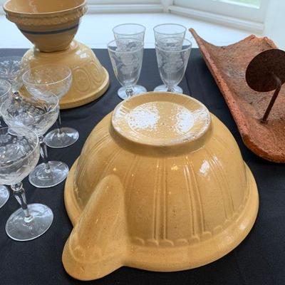 Antique Yellow Ware Collection, Etched Stemware, Crate and Barrel Dinnerware