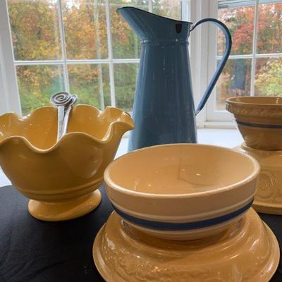 Antique Yellow Ware Collection Enamel Pitchers