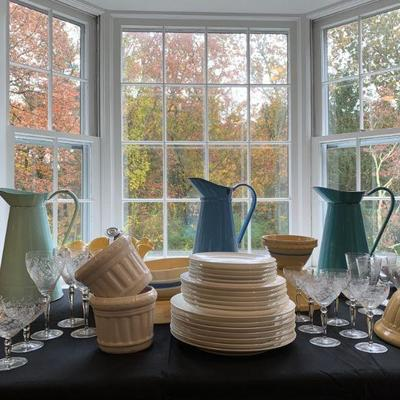 Antique Yellow Ware Collection, Etched Stemware, Enamel Pitchers, Crate and Barrel Dinnerware