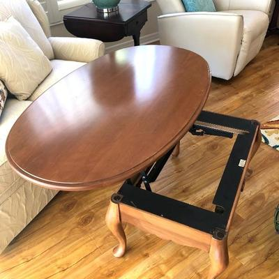 Oval Maple Coffee Table with Lift Top - $150 - (46L  27W  17H w/o lift)