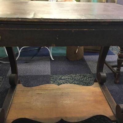 Antique table with ink well