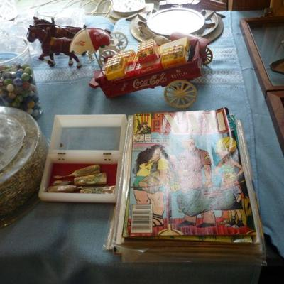 Comic books, Cast Iron Toys, etc