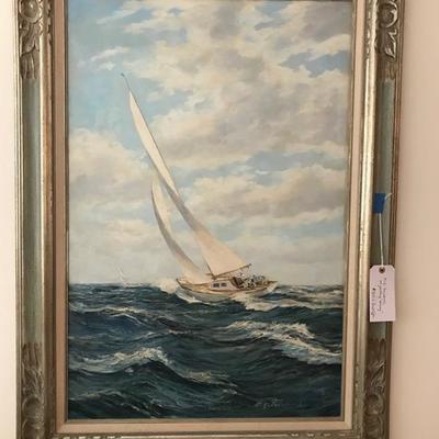 M G Freidrich oil painting Sailing ca. 19th century $1,600