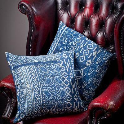 Indigo blue fabrics and pillows