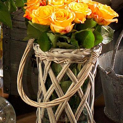 Wicker and glass vases