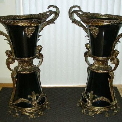 Pair Spectacular Dore' Bronze & Porcelain Palace Urns
