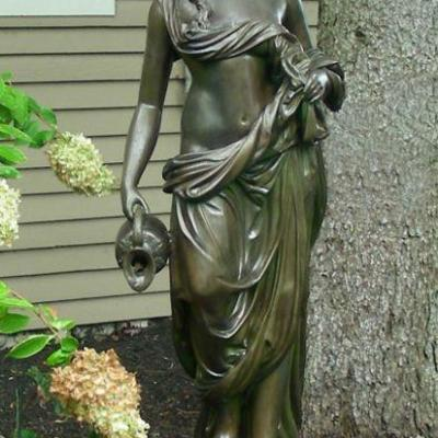 Vintage Bronze Sculpture/Fountain of Woman with Jug