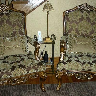 Two Elegant Wood & Upholstered Armchairs