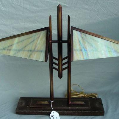 Metal & Slag Glass Lamp
