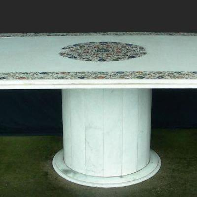 Large Marble Table with Inlaid Semi-Precious Stones