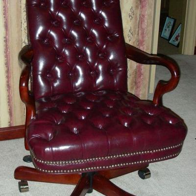 Wood & Leather Desk Chair