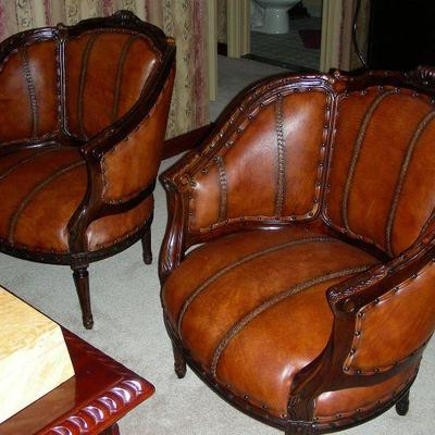 Two Wood & Braided Leather Tub Chairs