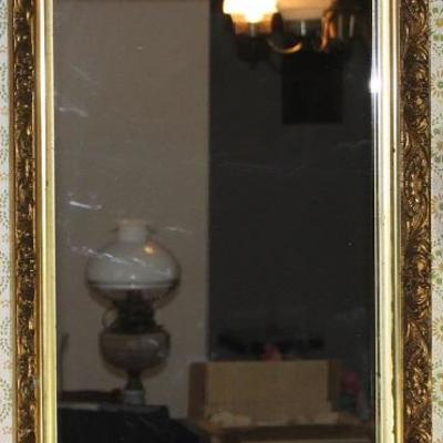 "Vintage Gold Leaf Gilt Framed Mirror 15"" x 24 3/4"""