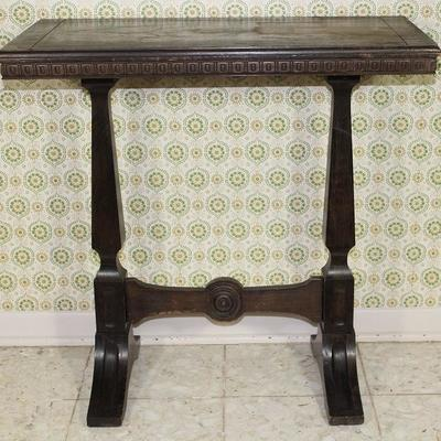 "Antique small Trestle base walnut Occasional Table, 30"" W x 15"" D x 29 1/2"" H"
