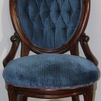 Victorian Carved Wood Round Back Blue tufted parlor chair