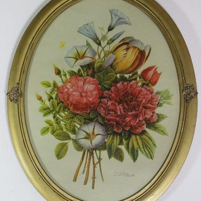 "Vintage floral bouquet print in oval Gold Leaf Frame 14"" W x 18"" H"
