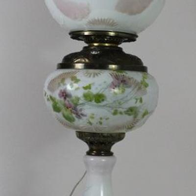 "Antique Victorian Hand Painted Oil Lamp with electrical added 29"" Tall"