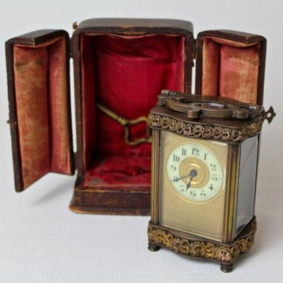 antique carriage clock with case