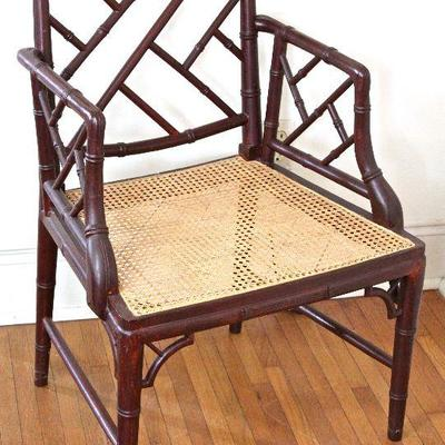 bamboo motif arm chair with cane seat