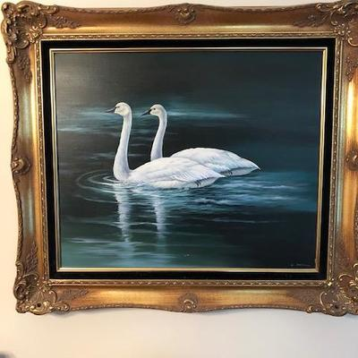 Signed W. Redman Oil on Canvas Swans