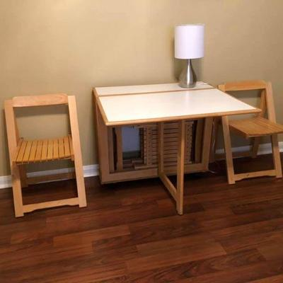 CT0067: Vintage Folding Table with 4 hideaway chairs Local Pickup  https://www.ebay.com/itm/113945919385