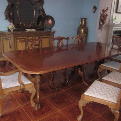 Chippendale Style Stunning Dining Room Suite (table opens to 12ft.) Chippendale Style Buffet With Mirror