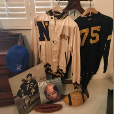 1942-44 Naval Academy blanket memorializing the Navy v Army football games of 1942 & 1943, football jersey, letterman's jacket,...