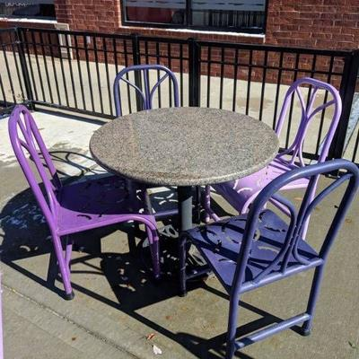 (2) Metal Purple Outdoor Chairs