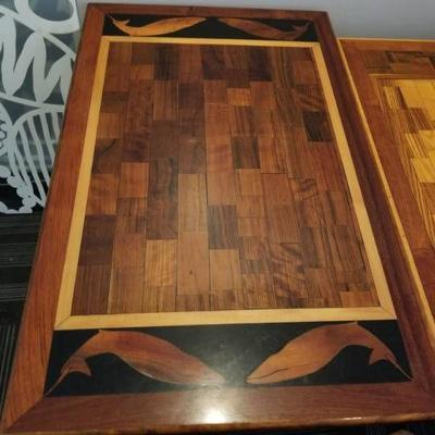 48in Hand Crafted Wood Table With Whale Decoration