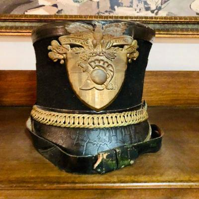 VINTAGE WEST POINT CADET MILITARY ARMY TAR BUCKET PARADE HAT UNIFORM SHAKO DRESS