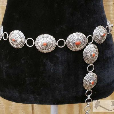 1097: Sterling Silver Native American Concho Belt with Blood Red Coral, 290.2g Soild Sterling Silver Concho Belt with Blood Red Coral .....