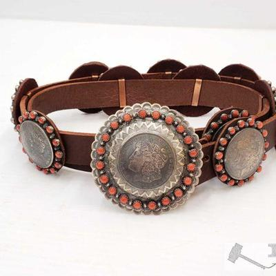 1098: Native American Sterling Silver Coral Concho Belt w/ Morgan Silver Dollar Conchos Signed by Artist This Rare Native American Concho...