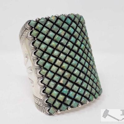 1099: Huge Amazing Native American Sterling Silver Cuff / Bracelet with Green Turquoise Stones   This artist marked Huge Green Turquoise...