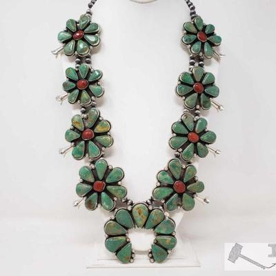 1096: Large Rare Sterling Silver Green Turquoise and Blood Red Coral SquashBlossom signed by Artist ,483.6 Native American Large Rare...