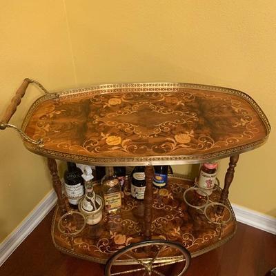 Vintage Italian inlaid wood tea caddy/bar cart