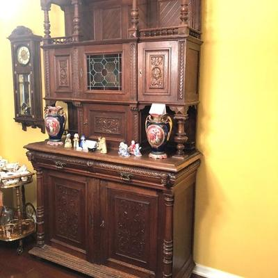 Antique (circa 1800) Carved Dining Room Shrunk (Hutch/Breakfront) was purchased from a German farmer. Most likely Belgium or Austrian. --...